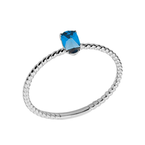 Dainty Genuine Blue Topaz Oval Rope Ring in White Gold