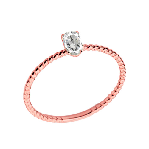 Dainty Cubic Zirconia Oval Rope Ring in Rose Gold