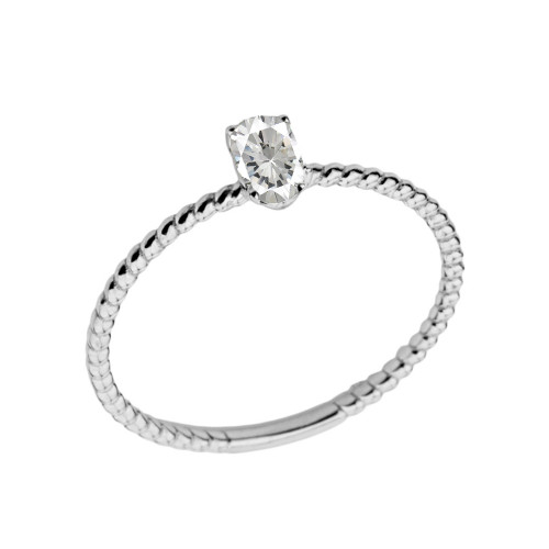 Dainty Cubic Zirconia Oval Rope Ring in White Gold