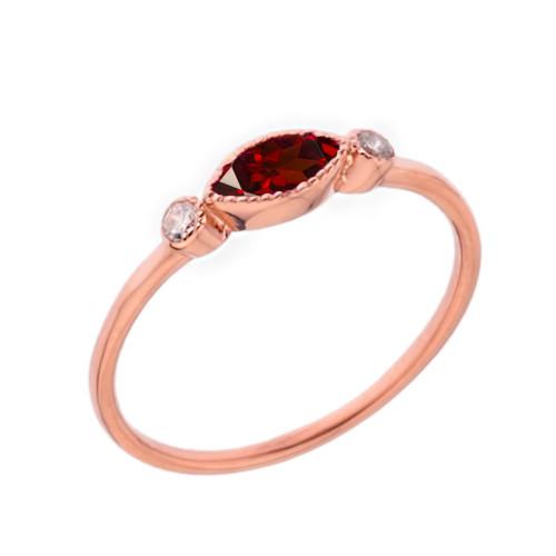 Dainty Genuine Garnet and White Topaz Ring in Rose Gold