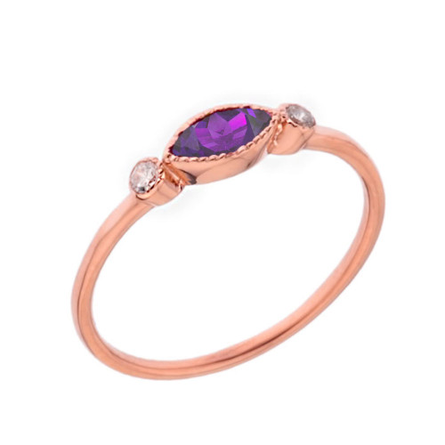 Dainty Genuine Amethyst and White Topaz Ring in Rose Gold