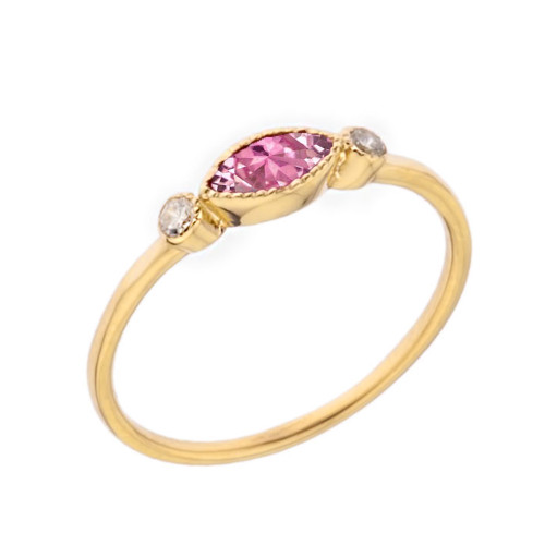Dainty Pink Cubic Zirconia and White Topaz Ring in Yellow Gold