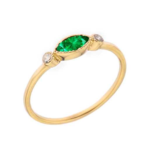 Dainty Lab Created Emerald and White Topaz Ring in Yellow Gold