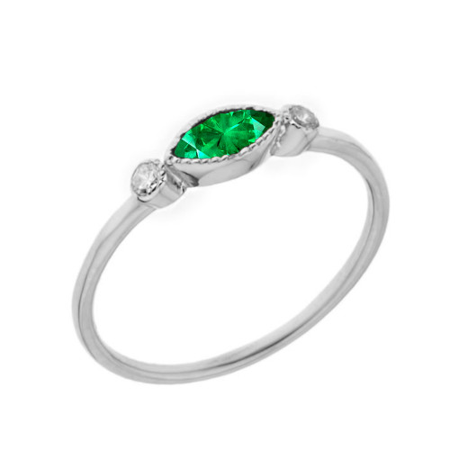 Dainty Lab Created Emerald and White Topaz Ring in White Gold