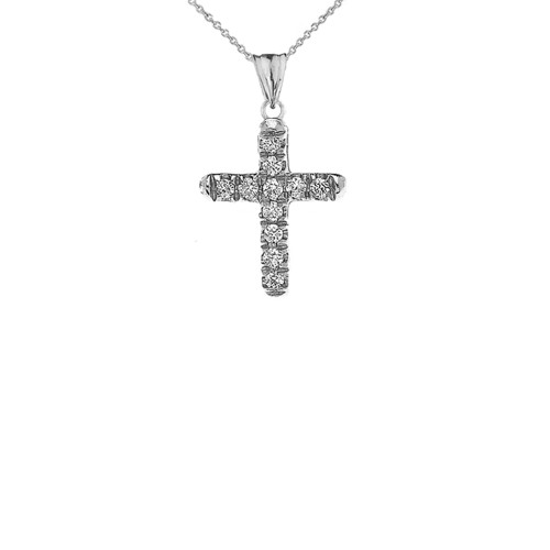 Mini Elegant Diamond Cross Pendant Necklace In White Gold