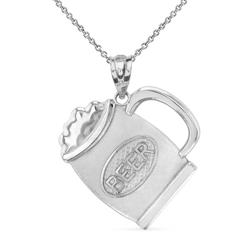 Solid White Gold Beer Mug Pendant Necklace