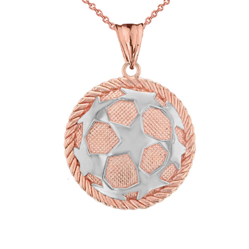 Star Soccer Ball  in Rope Pendant Necklace in Two-Tone Rose Gold