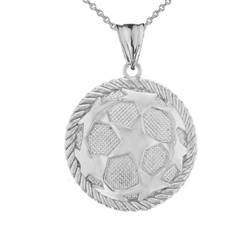 Star Soccer Ball  in Rope Pendant Necklace in Sterling Silver