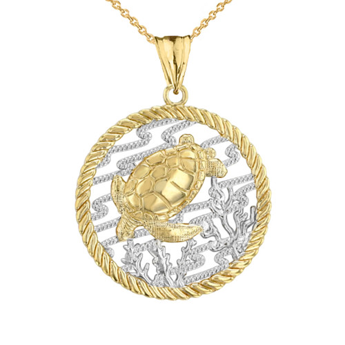 Honu Sea Turtle On Seashore in Rope Pendant Necklace in Two-Tone Yellow Gold