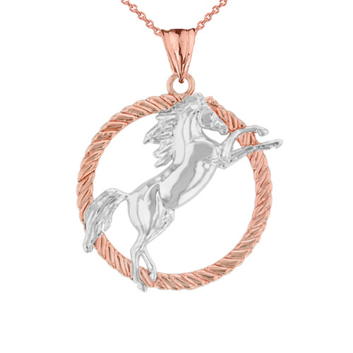 Stallion Horse Rope Pendant Necklace in Two Tone Rose Gold