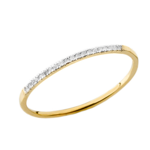 Dainty Diamond Band Ring in Yellow Gold