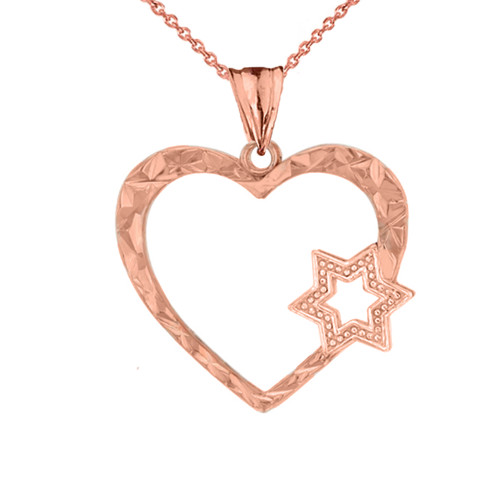 Star Of David Heart Pendant Necklace in Rose Gold