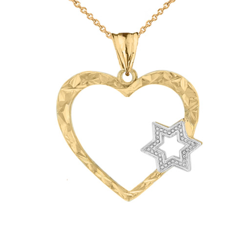 Star Of David Heart Pendant Necklace in Two-Tone Yellow Gold