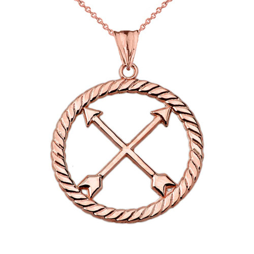 Crossed Arrows Friendship Symbol in Rope Pendant Necklace in Rose Gold