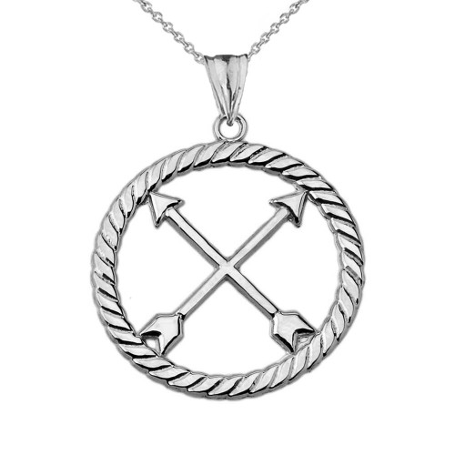 Crossed Arrows Friendship Symbol in Rope Pendant Necklace in White Gold