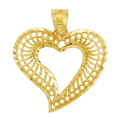 Gold Pendants - Gold Spiral Heart Pendant