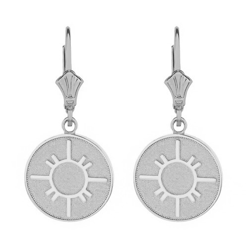 14k Solid White Gold Native American Geometric Sun Symbol Dainty Disc Earring Set