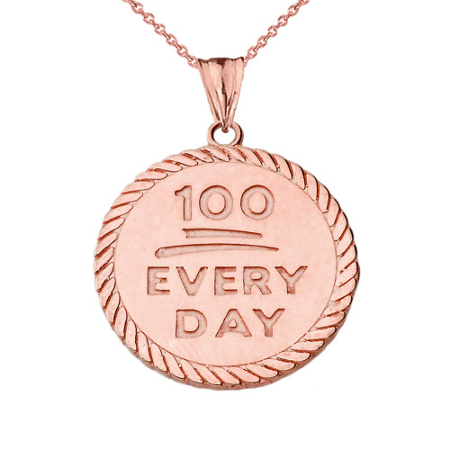 """""""100 Every Day"""" Rope Disc Pendant Necklace in Rose Gold"""