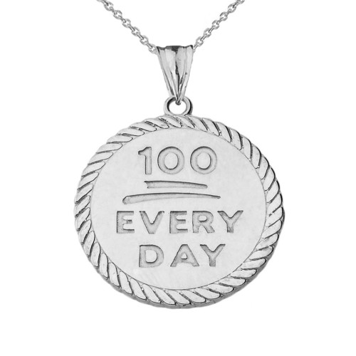 """""""100 Every Day"""" Rope Disc Pendant Necklace in Sterling Silver"""