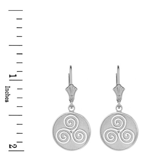 549baf1da Sterling Silver Celtic Triple Spiral Triskele Irish Knot Disc Earring Set