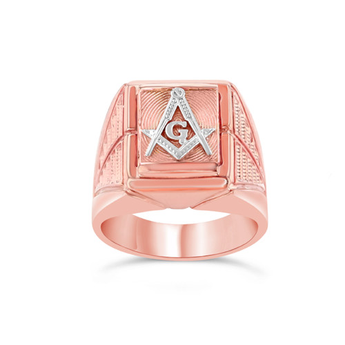 Two-Tone Rose Gold Men's Masonic Ring