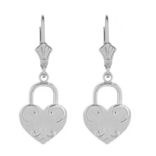 14k Solid White Gold Swirl Heart Padlock Earring Set