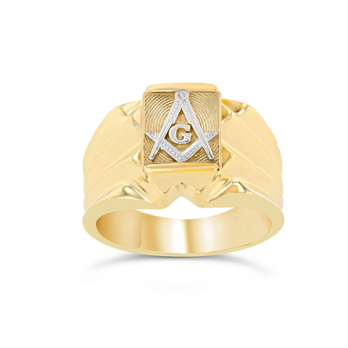 Men's Two-Tone Yellow Gold Masonic Ring
