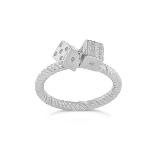 Dice Rope Ring in Sterling Silver
