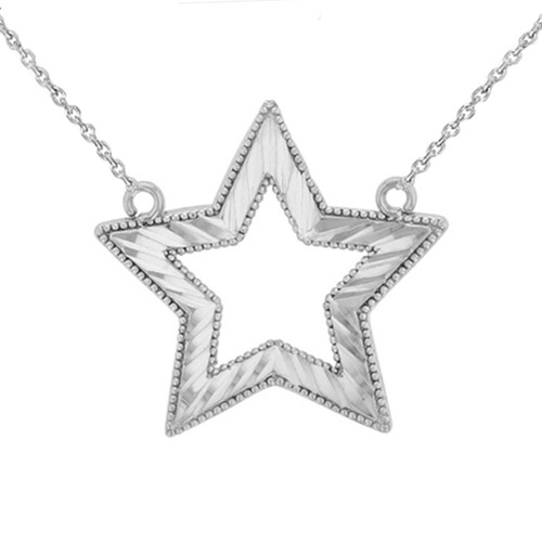 Chic Sparkle Cut Star Necklace in 14K White Gold