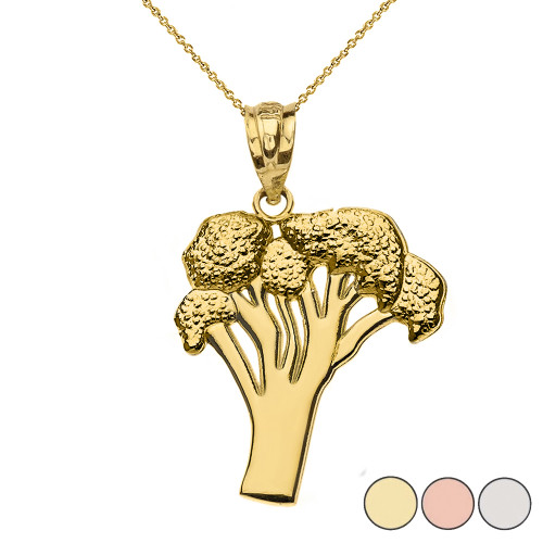 Broccoli Vegetable Pendant Necklace in Gold (Yellow/Rose/White)