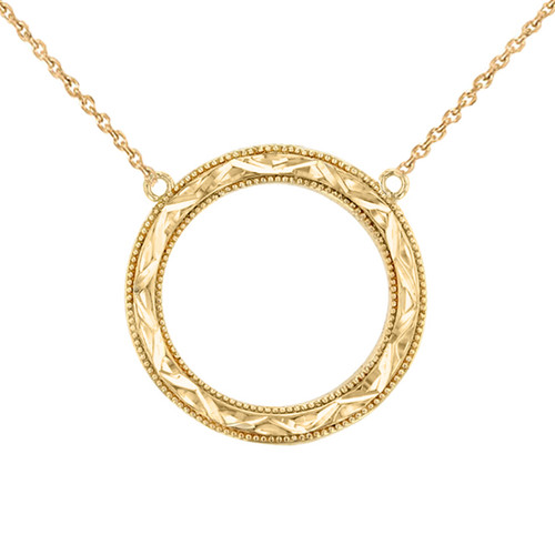 Chic Sparkle Cut Circle of Life Necklace in 14K Yellow Gold