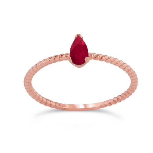 Dainty Genuine Ruby Pear Shape Rope Ring in Rose Gold