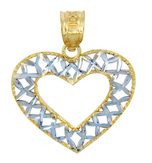 Gold Pendants - Two Tone Gold Open Weave Heart Pendant