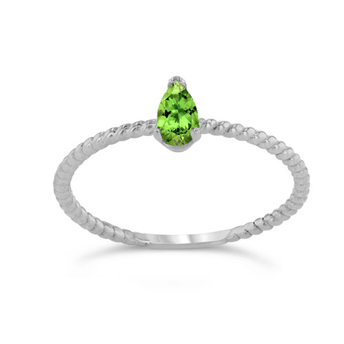 Dainty Genuine Peridot Pear Shape Rope Ring in White Gold