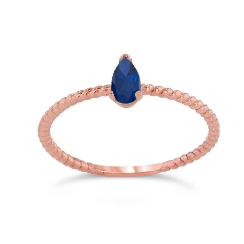 Dainty Genuine Sapphire Pear Shape Rope Ring in Rose Gold