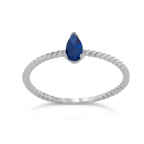 Dainty Genuine Sapphire Pear Shape Rope Ring in White Gold