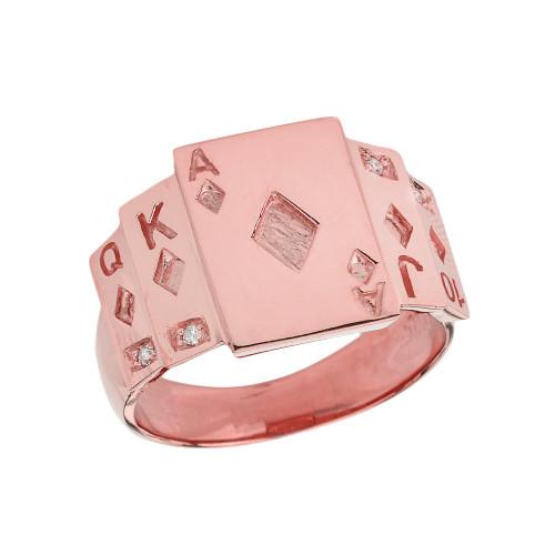 """Ace of Diamonds"" Royal Flush Diamond Ring in Rose Gold"