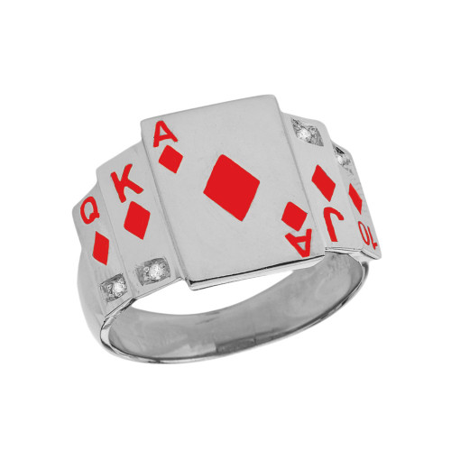"""""""Ace of Diamonds"""" Royal Flush Diamond Ring in White Gold with Red Diamonds"""
