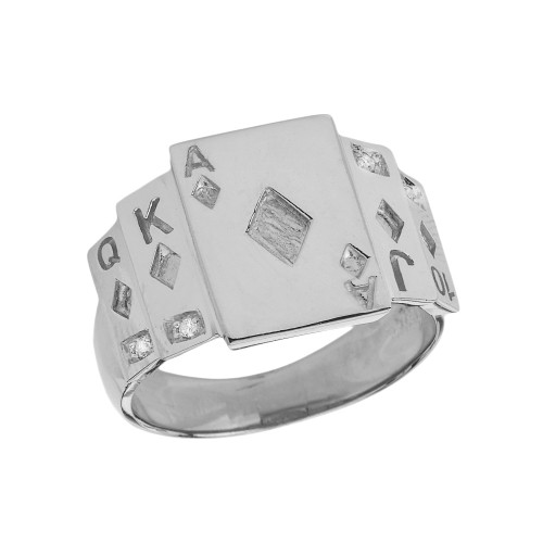 """""""Ace of Diamonds"""" Royal Flush Diamond Ring in Sterling Silver"""