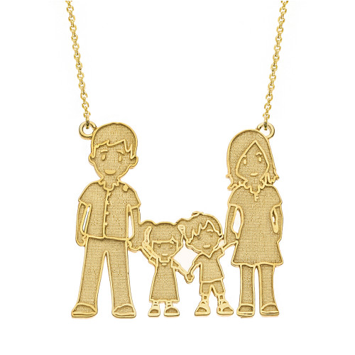 14k Solid Yellow Gold Mother Father Son Daughter Family Necklace