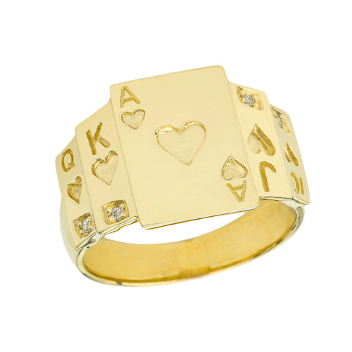 """""""Ace of Hearts"""" Royal Flush Diamond Ring in Yellow Gold"""