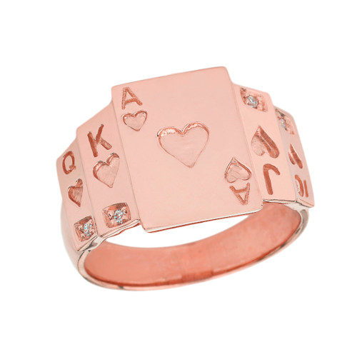 """Ace of Hearts"" Royal Flush Diamond Ring in Rose Gold"