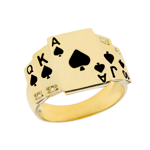 """""""Ace of Spades"""" Royal Flush Diamond Ring in Yellow Gold with Black Spades"""