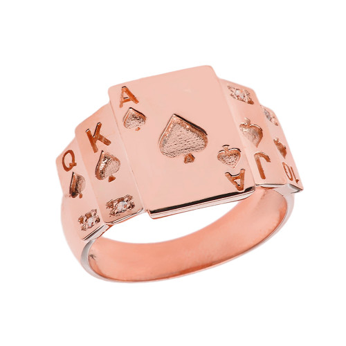 """Ace of Spades"" Royal Flush Diamond Ring in Rose Gold"
