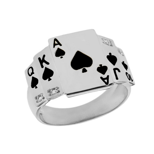 """Ace of Spades"" Royal Flush Diamond Ring in White Gold with Black Spades"