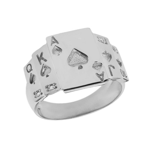 """""""Ace of Spades"""" Royal Flush Diamond Ring in Sterling Silver"""
