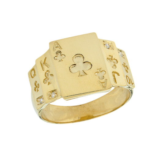 """""""Ace of Clubs"""" Royal Flush Diamond Ring in Yellow Gold"""
