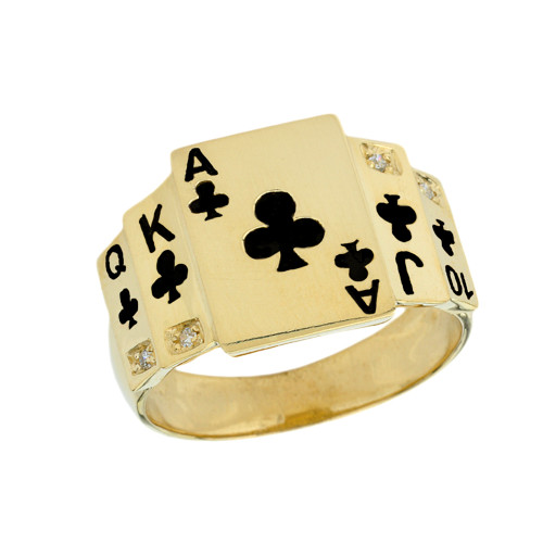 """""""Ace of Clubs"""" Royal Flush Diamond Ring in Yellow Gold with Black Spades"""