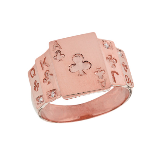 """Ace of Clubs"" Royal Flush Diamond Ring in Rose Gold"