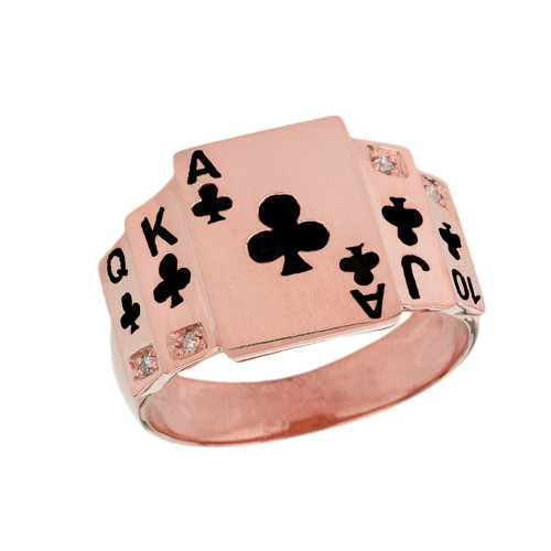 """Ace of Clubs"" Royal Flush Diamond Ring in Rose Gold with Black Spades"